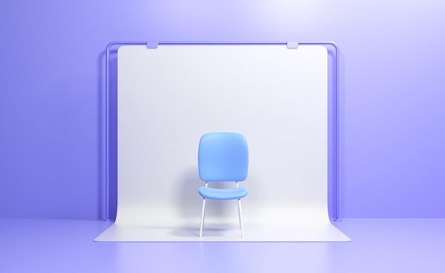Синий стул в студии. вакансия и бизнес-концепция найма и найма. 3d визуализация иллюстрации
