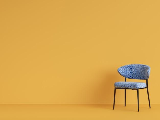 Ornamnet이있는 파란색 의자. 미니멀리즘의 개념. 3d 렌더링