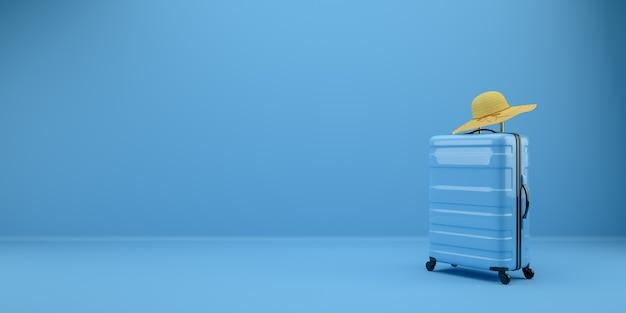 파란색 여행 가방과 파란색 방에 노란색 모자. 3d 렌더링 그림.