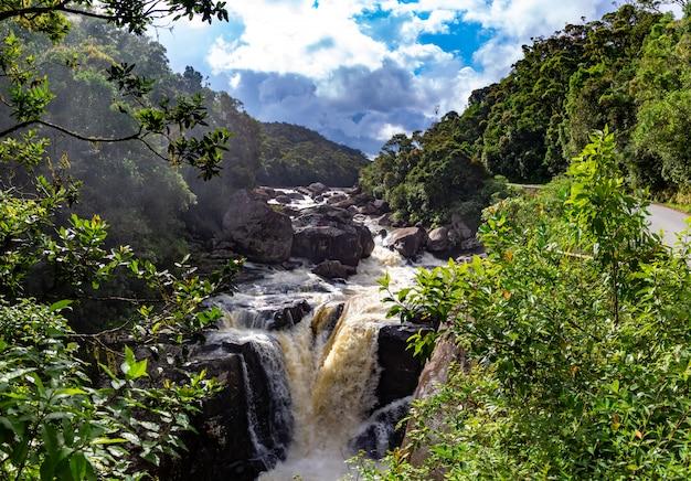 熱帯雨林の滝のある沸騰する川