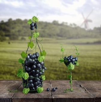 ブドウで作られたボトルとグラス1杯のワイン