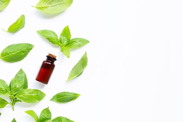 Бутылка эфирного масла со свежими листьями базилика на белом