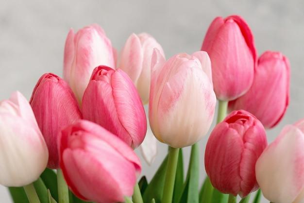 Букет нежных розовых тюльпанов к празднику. день матери, день рождения, день влюбленных. открытка. мягкий выборочный фокус, крупный план.