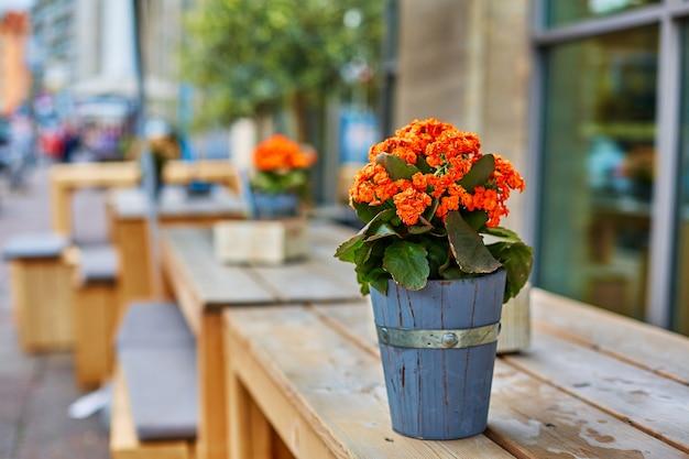 장식용 나무 꽃병 야외 테이블 장식에 있는 꽃다발.