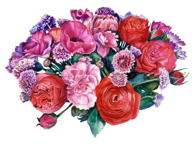背景から切り抜かれた赤とピンクの花の花束。水彩画