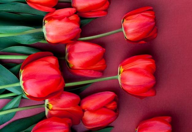 Букет красных тюльпанов в весенний сезон