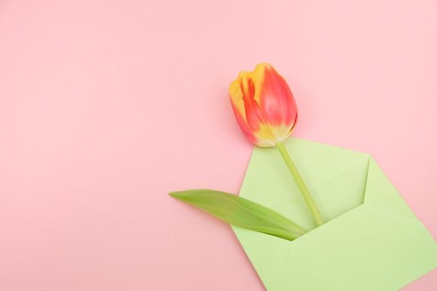 チューリップの花束と柔らかいピンクの背景にメモが付いた封筒。国際女性の日、母の日、イースターの概念