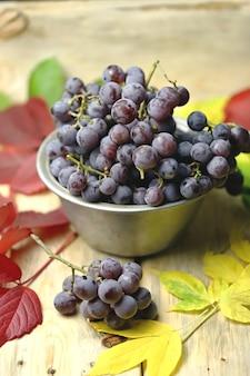 紅葉の青ブドウのボウル。 Premium写真