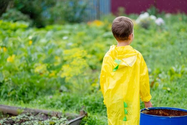 Мальчик в желтом плаще идет под дождем, вид сзади. ребенок на улице. яркая одежда. гулять под дождем.