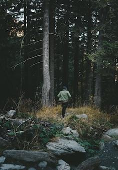 Мальчик бежит по лесу
