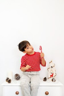 화장실에 앉아 롤리팝을 들고있는 소년, 전나무 콘과 목조 주택이있는 흰색 가정 장식 세트