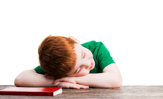 빨간 책 옆에서 자고있는 소년