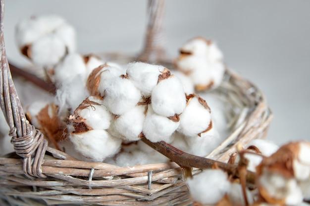 灰色の背景上のバスケットに白い柔らかい綿の花の枝