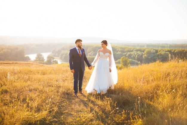 Жених и невеста гуляют по полю на закате, в солнечном свете, держась друг за друга руками.