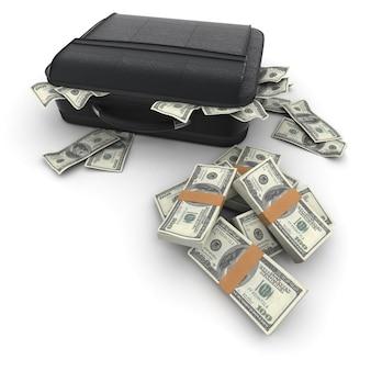 百ドル札の現金でいっぱいのブリーフケース