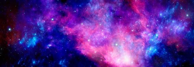 輝く星とガスのクラスターを持つ深宇宙の明るい青赤星雲