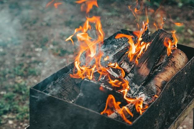 Яркое пламя от костра. пламя над барбекю. дрова в огне