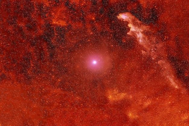 Ярко-оранжевая туманность в космосе. элементы этого изображения были предоставлены наса. для любых целей.