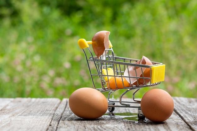 ショッピングカートの壊れた卵。