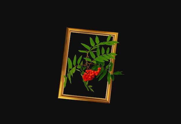 金色のフレームにナナカマドの果実のブラシ