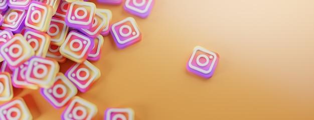 Куча логотипов instagram на оранжевом