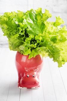 Пучок листьев салата в кружке в форме бегемота