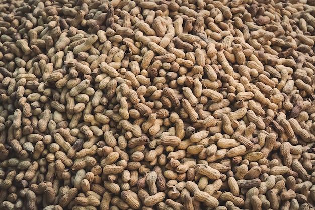 배경으로 땅콩의 무리입니다. 껍질에 구운 땅콩.