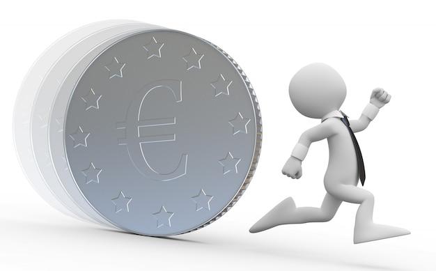 Деловой человек бежит от огромной монеты с символом евро