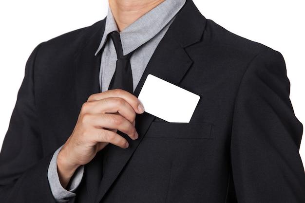 사업가 자신의 소송에서 카드를 가져옵니다.