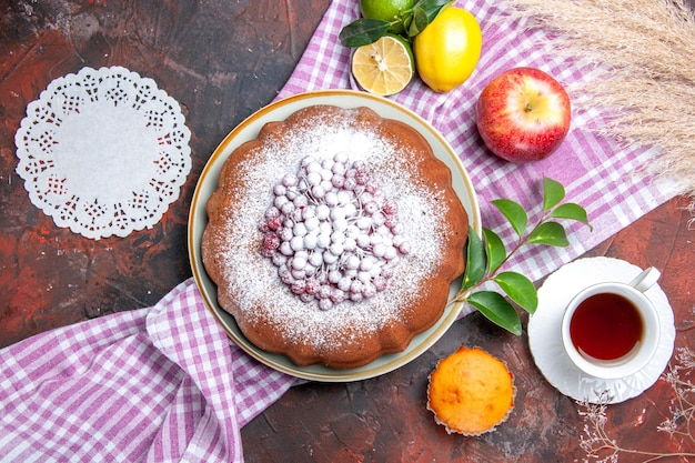 ケーキ一杯お茶ケーキレモンテーブルクロスアップルカップケーキレースドイリー