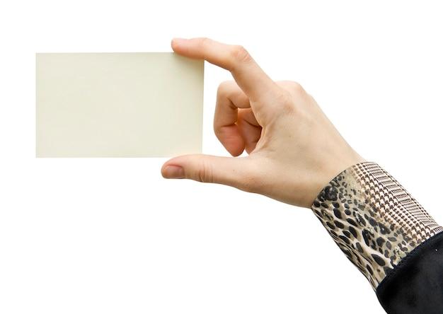 Бланк карты в руке на белом