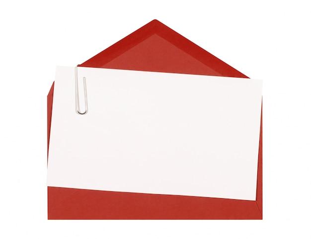 Красный конверт с поздравительной открыткой