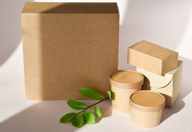 Картонная коробка с одноразовой тарой и зеленой веточкой.