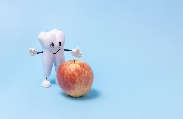 치아 건강에 유용한 치아와 사과의 만화 모델