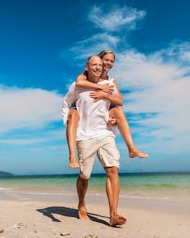 A caucasian family is enjoying summer vacation