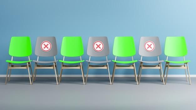 미니멀리즘 개념의 빈 방에 있는 의자