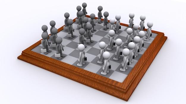 ビジネスマンのチェス盤。事業戦略コンセプト