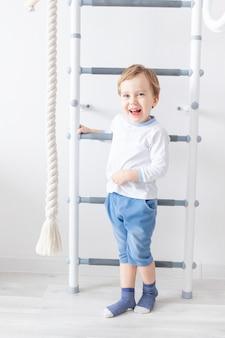소년이 스웨덴 집 벽에 오르는 아이 프리미엄 사진