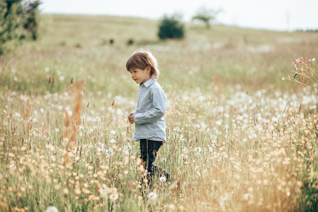 3~4세 소년이 초원을 걷고 웃고 있습니다.