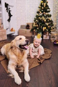 Девочка в шикарном платье и короне улыбается на фоне собаки лабрадора ретривера