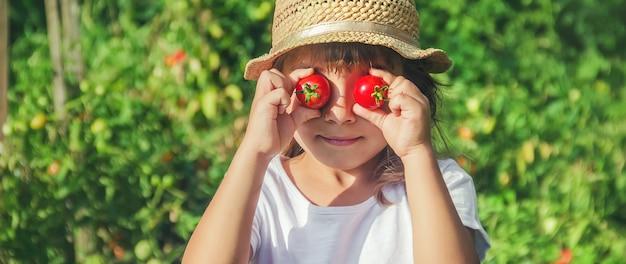 Ребенок в саду с помидорами
