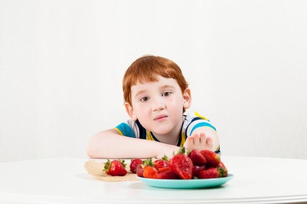 달콤한 딸기를 먹기 위해 식탁을 가로 질러 딸기를 찾는 아이