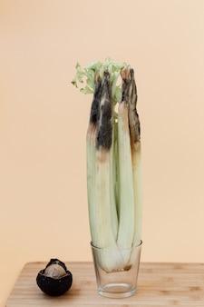 밝은 배경에 유리에 건강에 해로운 썩은 버릇없는 아보카도와 셀러리의 닫습니다. 곰팡이가 많은 셀러리.