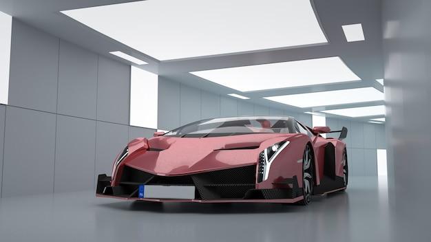 디스플레이 모형에 대한 터널에서 빨간색 스포츠카의 근접 촬영. 표현