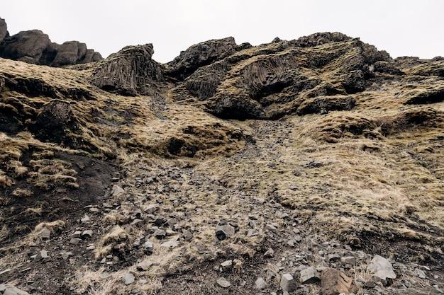 アイスランド玄武岩火山岩の山のテクスチャのクローズアップで覆われたパフストーン