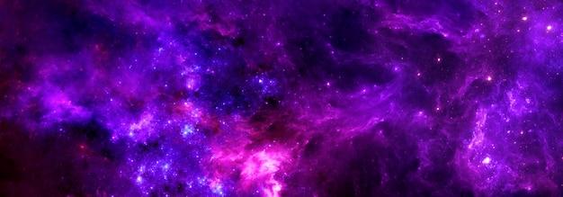 ガス雲と背景の星団を備えたカラフルなファンタジー空間星間