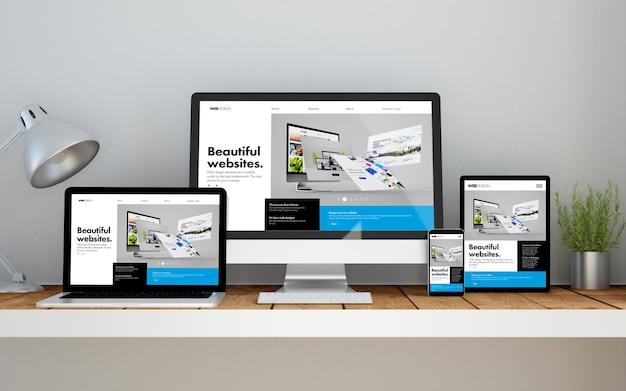 画面にオンラインレスポンシブビルダーのwebサイトがある、デスクトップワークスペース上のコンピューター、ラップトップ、スマートフォン、タブレット。 3dイラスト。すべての画面グラフィックが構成されています。