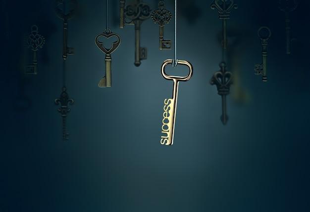 ぶら下がっているキーと1つの輝くキーの概念的なイメージ