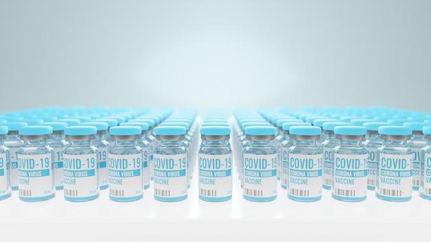 Флакон с вакциной против коронавируса или covid-19 помещен на стол в лаборатории