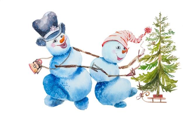 雪だるまのカップルがクリスマスツリーとそりを運んでいます